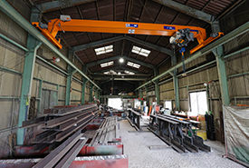 鉄骨、柱、大梁製造を行う第二工場