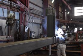 柱の溶接加工
